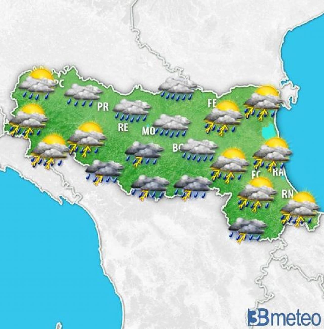 Meteo emilia romagna venerd con piogge e temporali anche forti 3b meteo - 3b meteo bagno di romagna ...