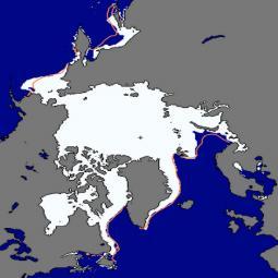 L\'attuale estensione della banchisa artica, confrontata con l\'estensione media, delineata in arancione. Fonte dati NSIDC
