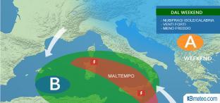 Dal weekend: nubifragi su Isole e Calabria