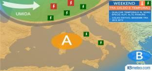 WEEKEND: caldo over 30°C, ma arriva qualche FORTE TEMPORALE