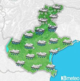 METEO VENETO. Nuova PERTURBAZIONE martedì e ritorno del MALTEMPO, con PIOGGE e NEVE sulle Alpi