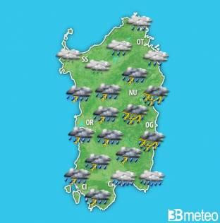 Meteo Sardegna- forte maltempo Sabato: acquazzoni e venti forti