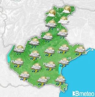 Meteo Veneto: temporali sparsi a breve, rischio grandine. Venti in rinforzo