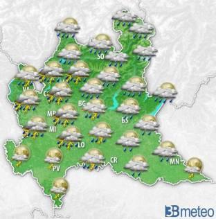 Meteo Lombardia: oggi attesi nuovi temporali, localmente forti e con possibile grandine