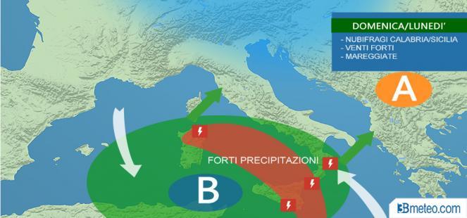 Domenica nubifragi su Sicilia verso Calabria