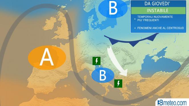 3 b meteo: estate ancora in letargo, tornano i temporali sull'Italia
