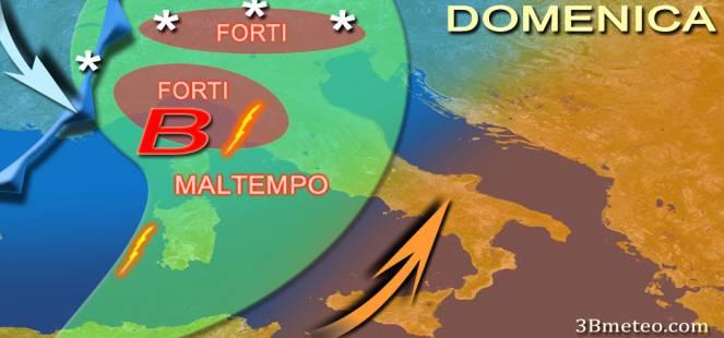 METEO: MALTEMPO IMMINENTE sull ITALIA, FORTI PIOGGE e NEVE, picchi di 100mm