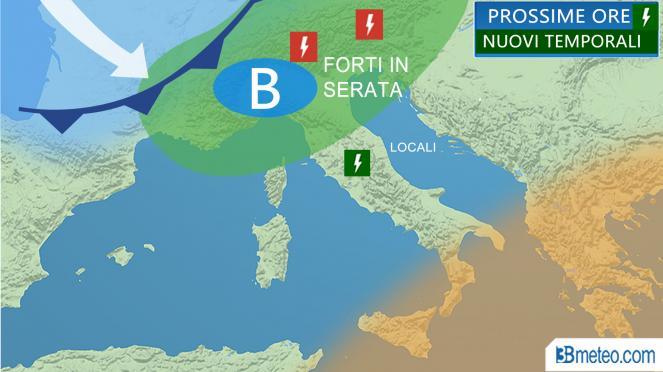 Meteo Italia temporali prossime ore