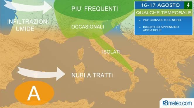 Meteo Italia torna qualche temporale specie al Nord