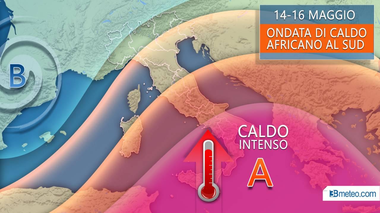 14-16 maggio caldo intenso in arrivo al sud
