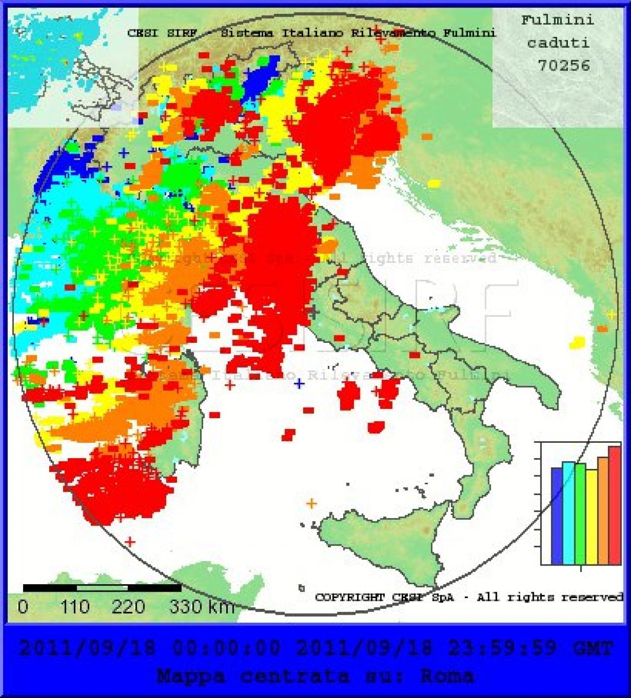 Cartina Toscana Dettagliata.Mappa Dettagliata Dei Fulmini Rilevati A Cura Del Cesi Record