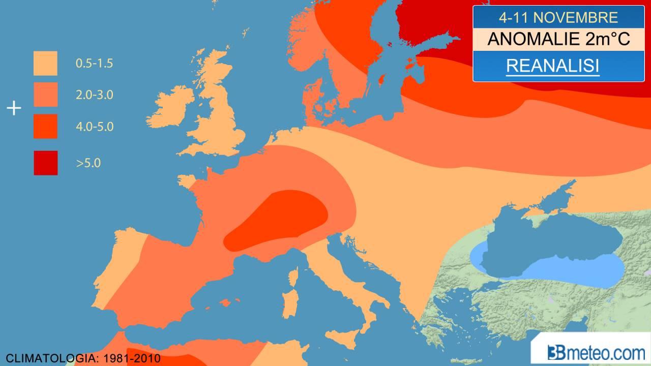 4-11 novembre, anomalie temperatura a 2m