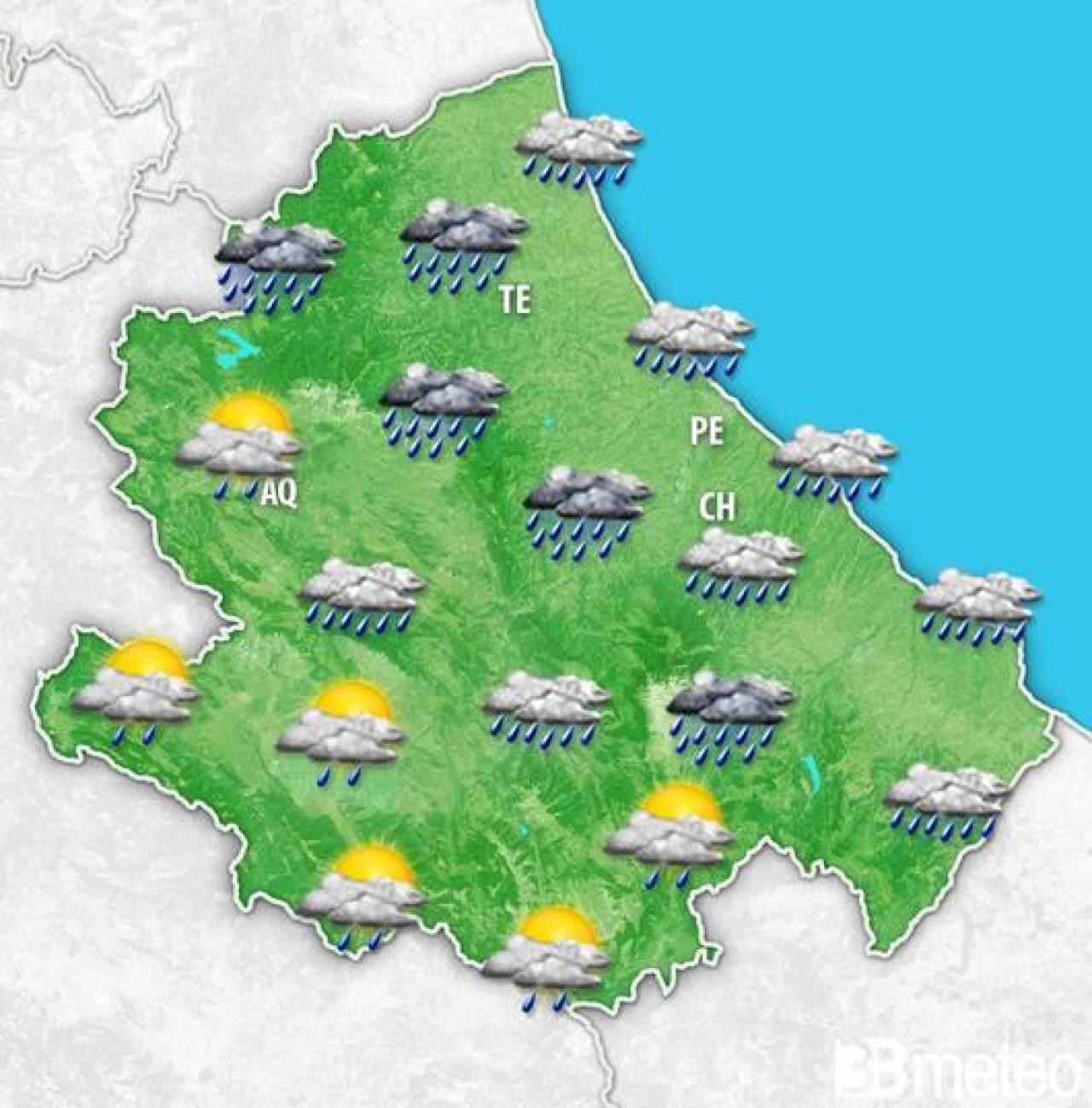 Abruzzo: previsione per mercoledì pomeriggio