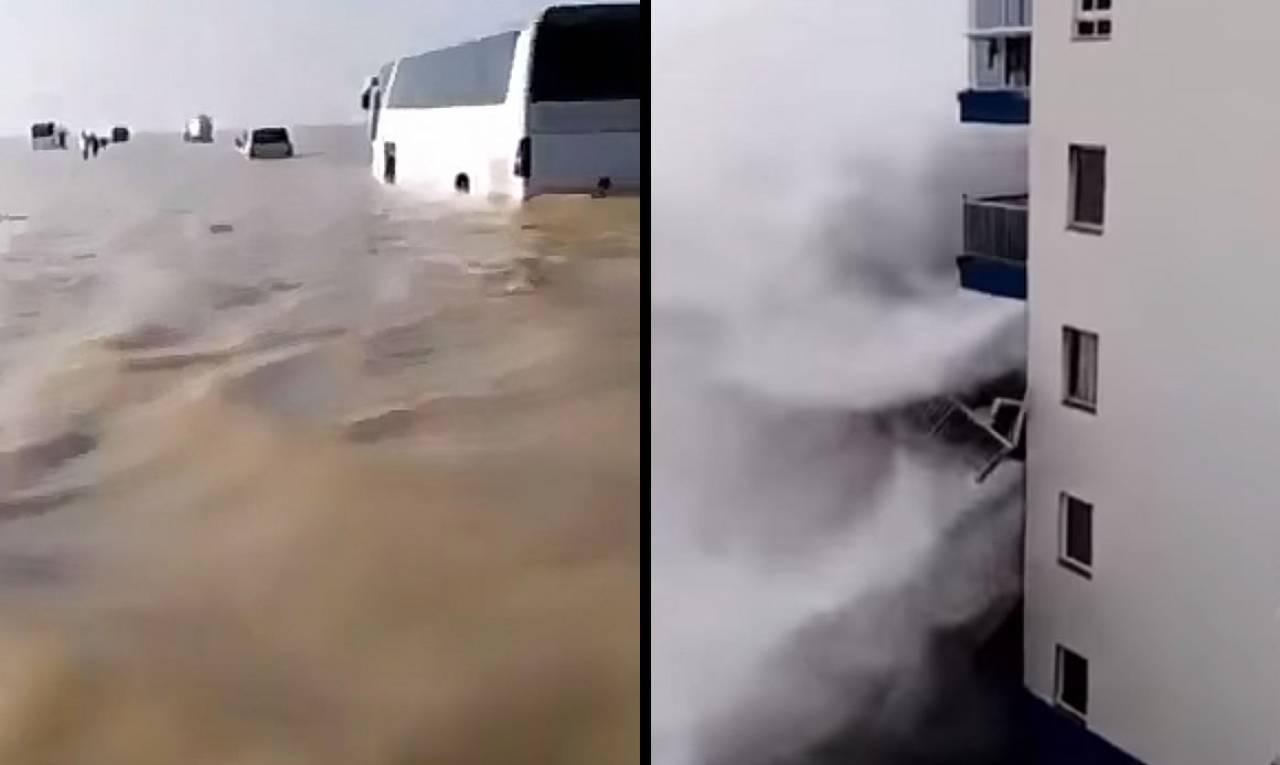 Il deserto saudita diventa un enorme lago a causa delle piogge. Mareggiata con onde distruttive a Tenerife. VIDEO
