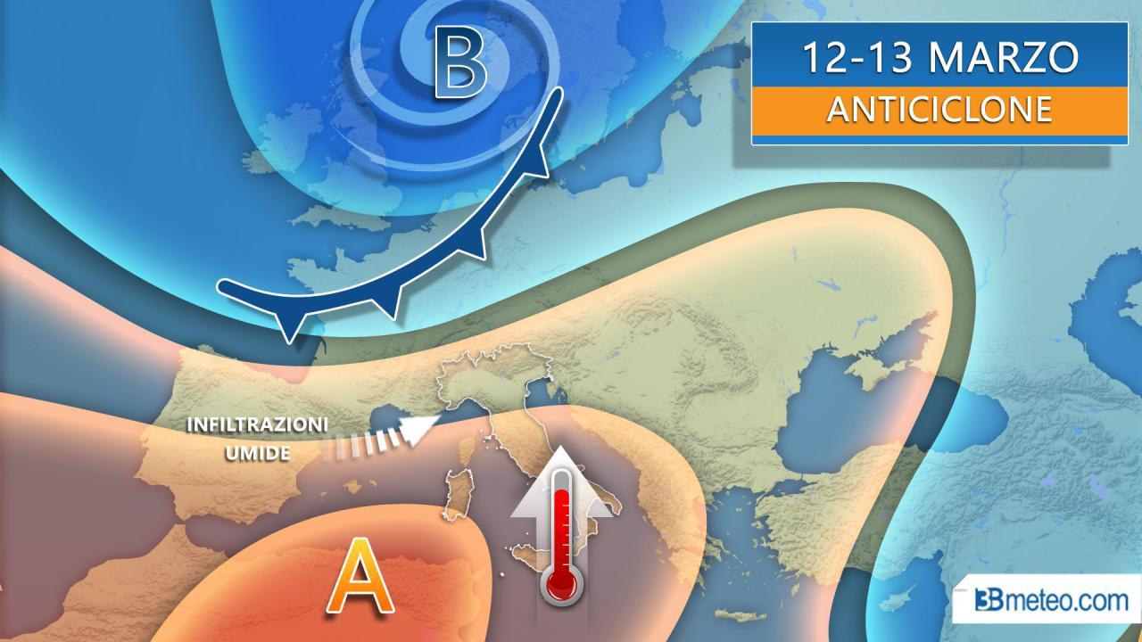 Alta pressione al Top, clima primaverile sull'Italia