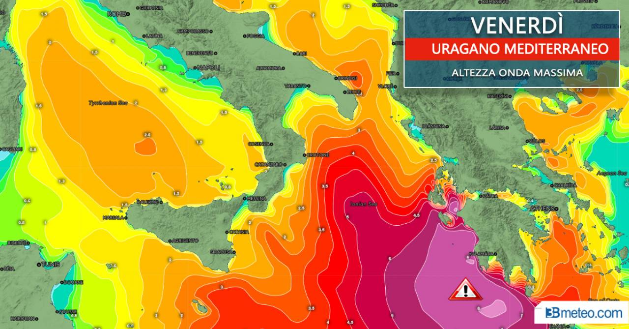 Altezza onde venerdì, anche superiori a 8 metri sulle coste occidentali della Grecia
