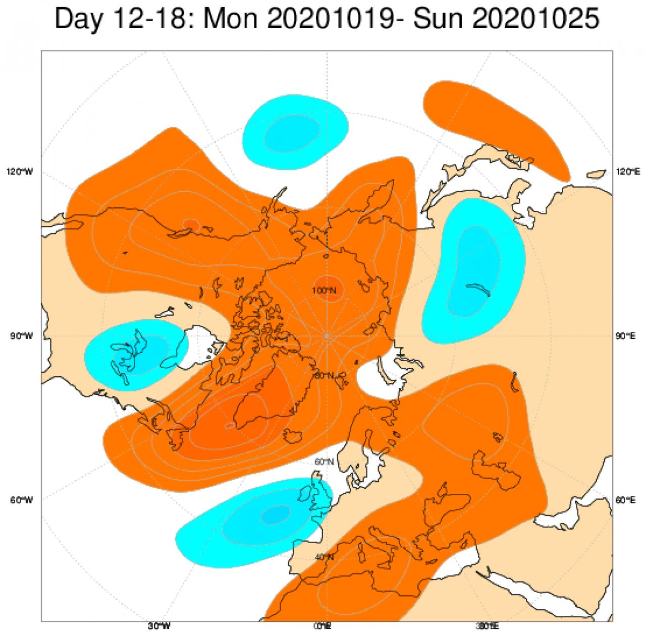 anomalie a 500 hpa 19-25 ottobre secondo Ecmwf
