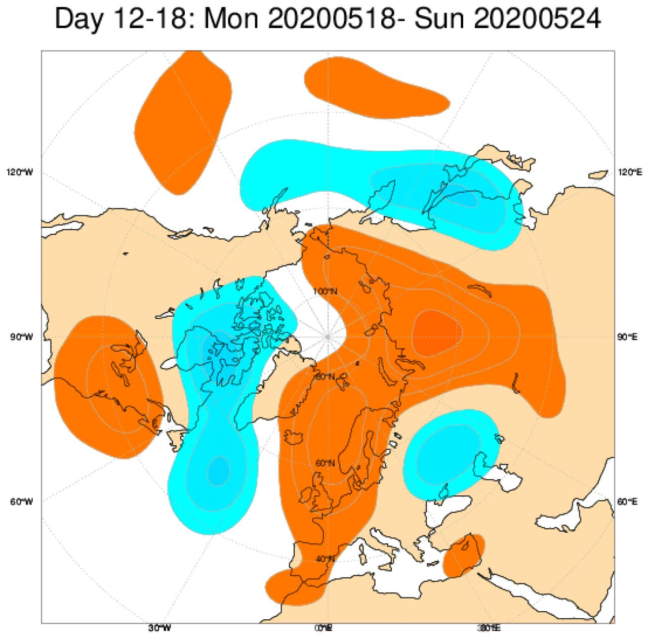 Anomalie di geopotenziale a 500hPa attese in Europa tra il 18 e il 24 maggio secondo il modello ECMWF