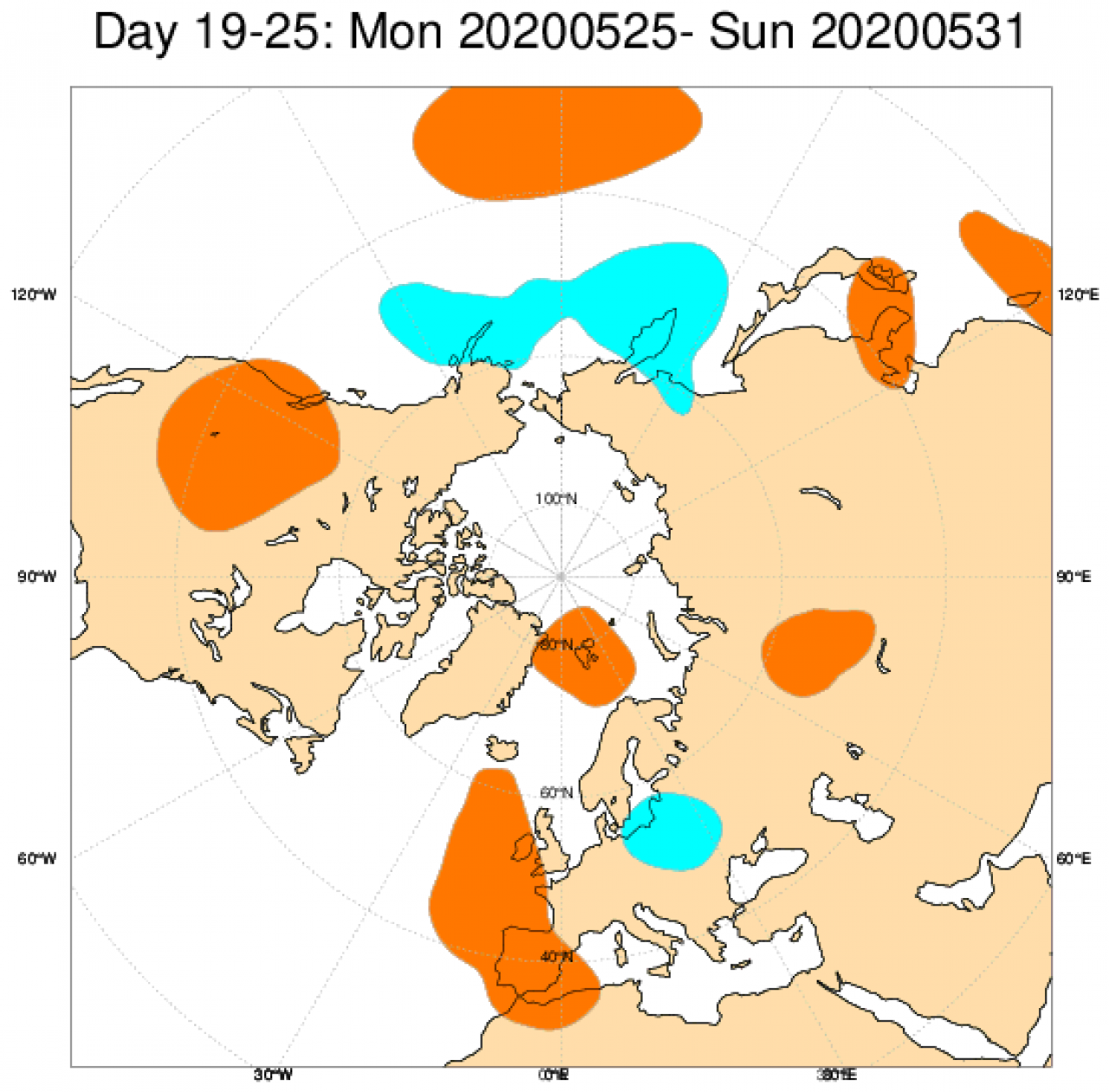 Anomalie di geopotenziale a 500hPa attese in Europa tra il 25 e il 31 maggio secondo il modello ECMWF