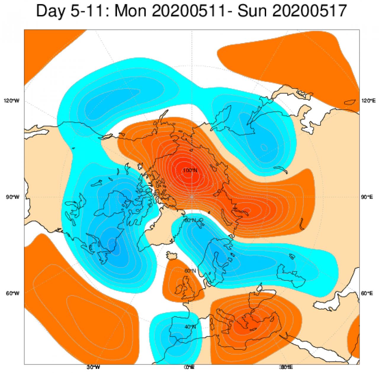 Anomalie di geopotenziale a 500hPa attese in Europa tra l'11 e il 17 maggio secondo il modello ECMWF