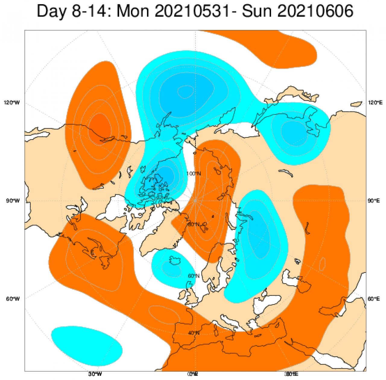 Anomalie di geopotenziale attese tra il 31 maggio e il 6 giugno 2021 - Da ECMWF