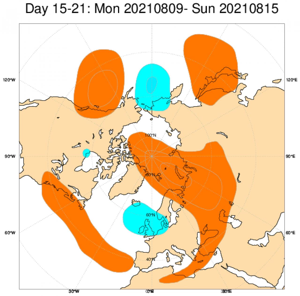 Anomalie di geopotenziale attese tra il 9 e il 15 agosto. Da ECMWF
