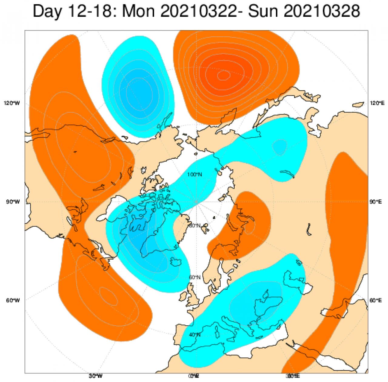 Anomalie di geopotenziale (in blu negative, in arancione positive) secondo il modello ECMWF mediate per il periodo 22-28 marzo