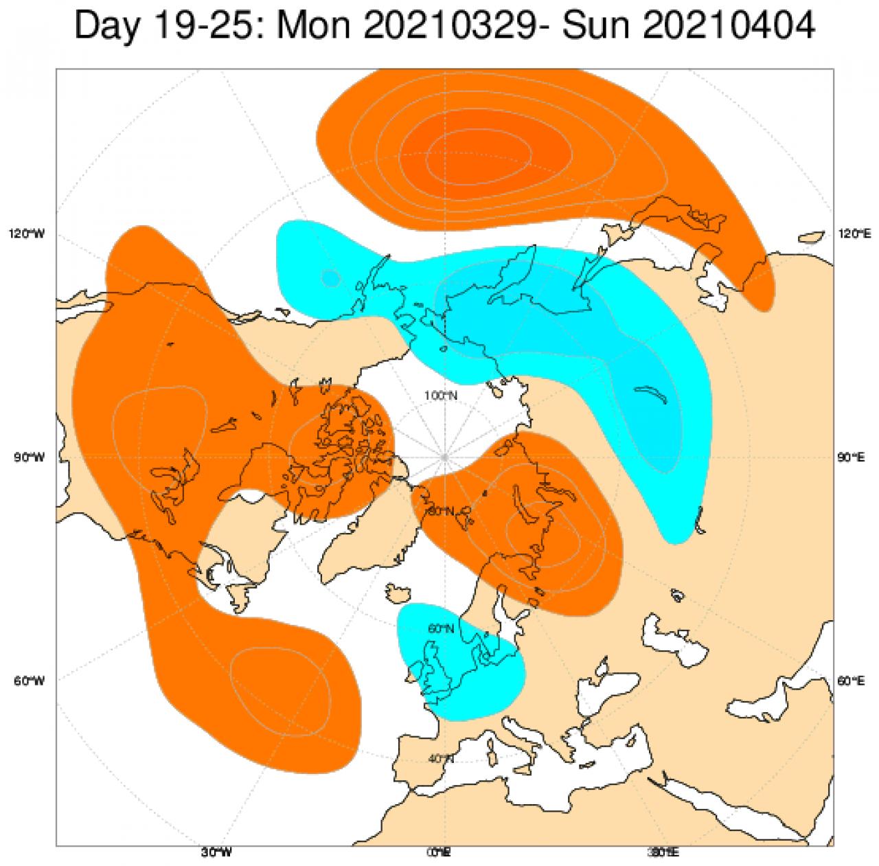 Anomalie di geopotenziale (in blu negative, in arancione positive) secondo il modello ECMWF mediate per il periodo 29 marzo - 4 aprile