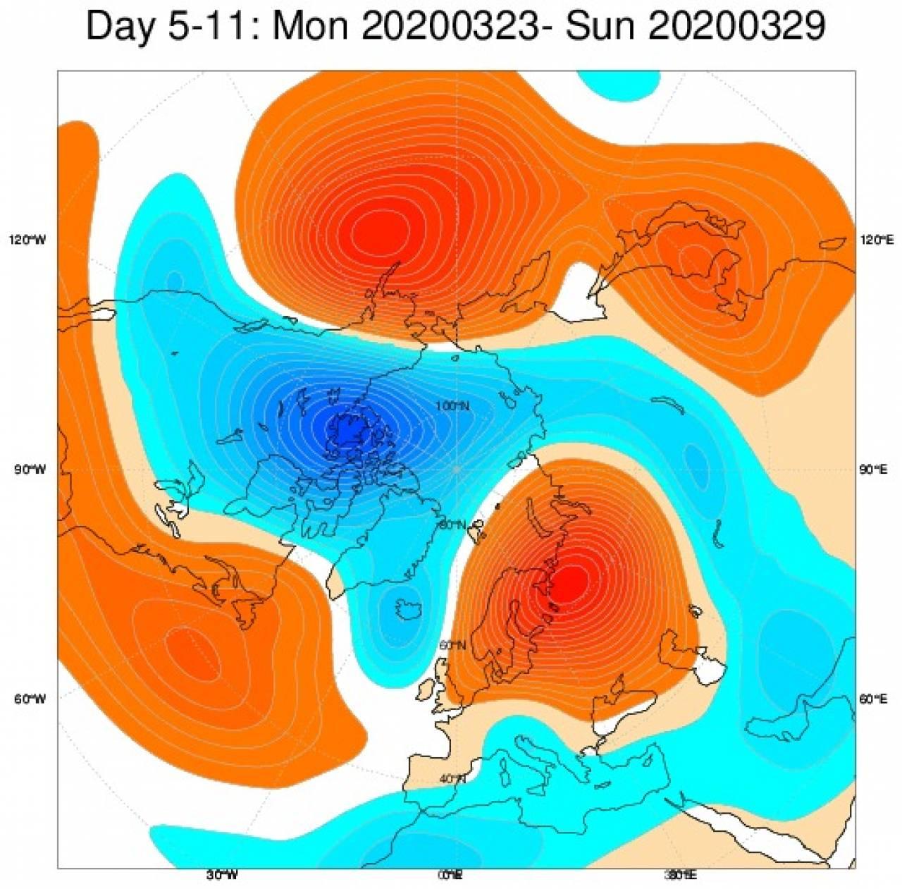 Anomalie di geopotenziale secondo il modello ECMWF per il periodo 23-29 marzo