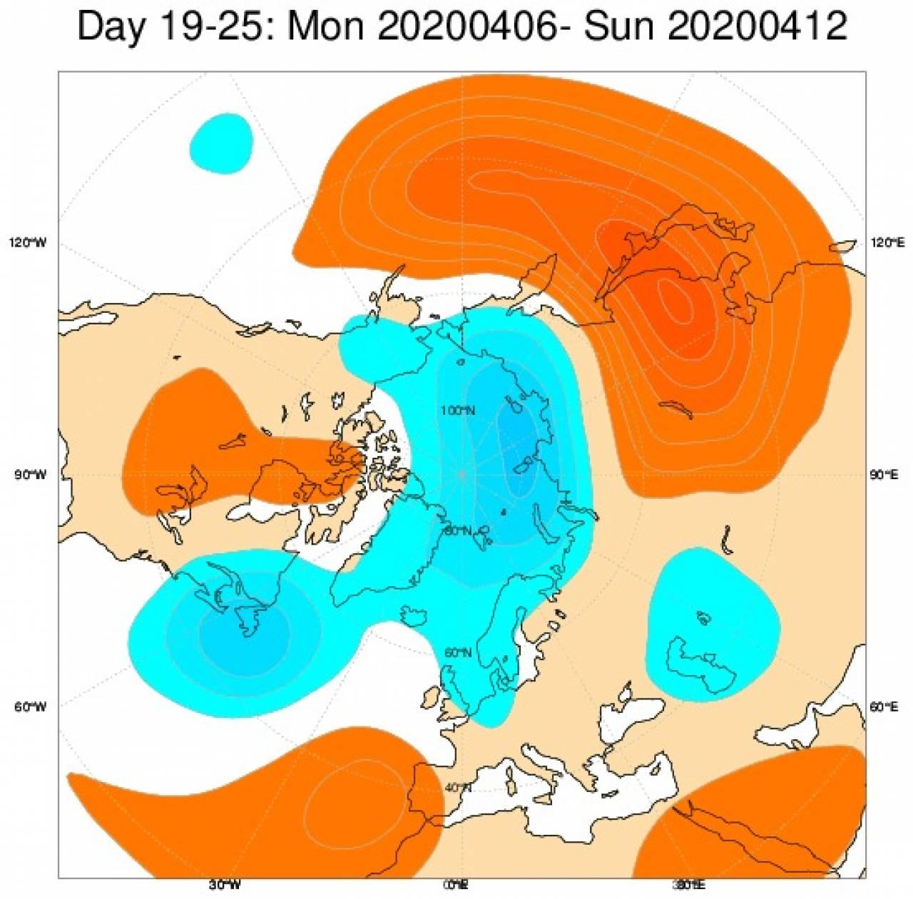 Anomalie di geopotenziale secondo il modello ECMWF per il periodo 6-12 aprile