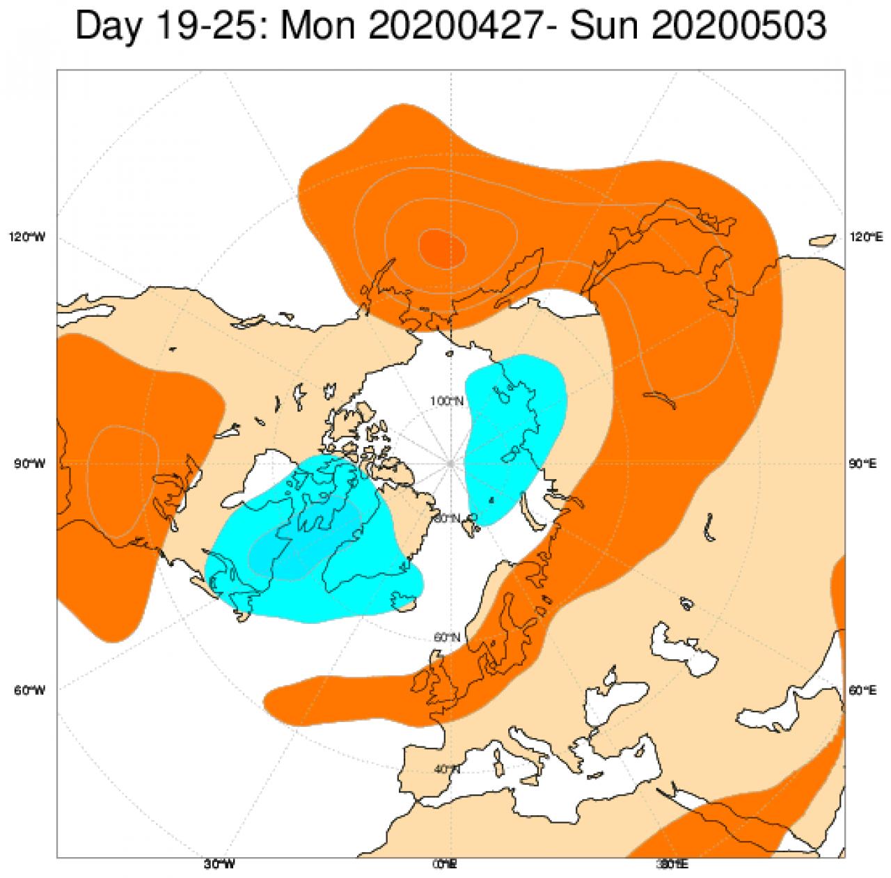 Anomalie di geopotenziali medie attese nel periodo 27 aprile - 3 maggio secondo il modello ECMWF