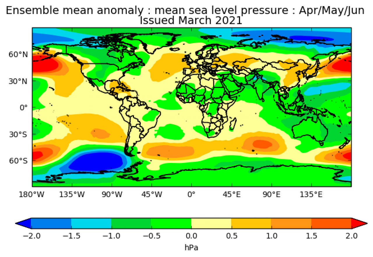Anomalie di pressione aprile-giugno secondo il met office