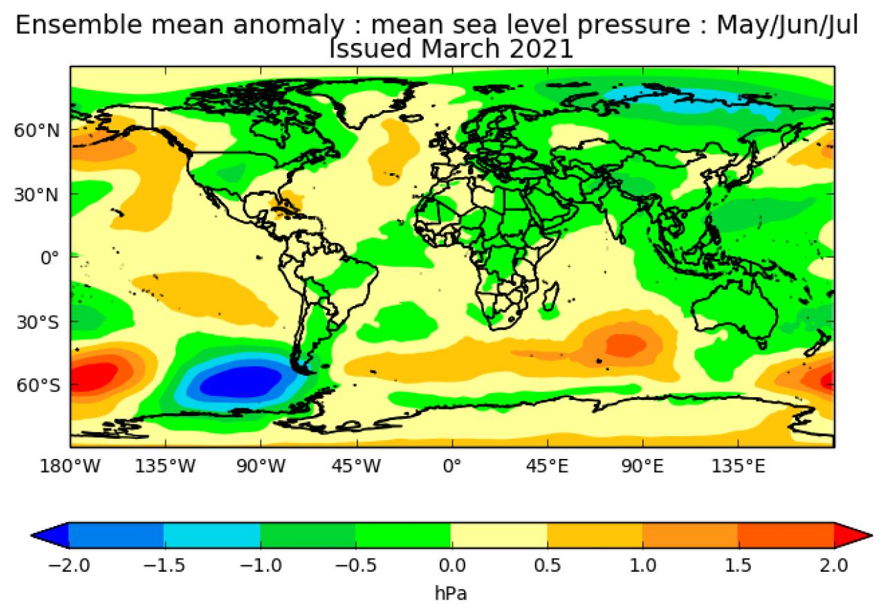 Anomalie di pressione maggio-luglio secondo il met office