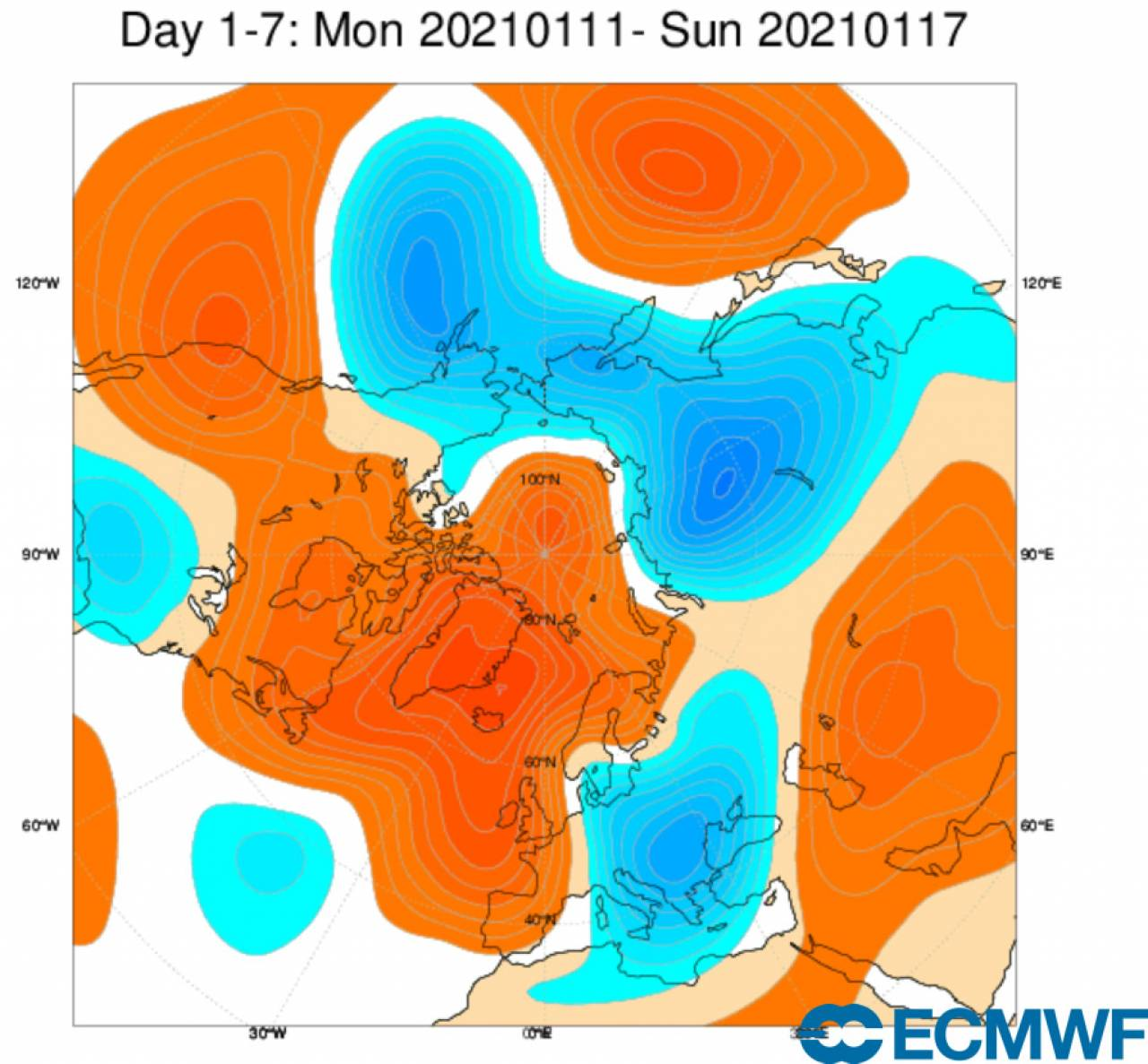 anomalie geopotenziale 500 hPa fonte ecmwf