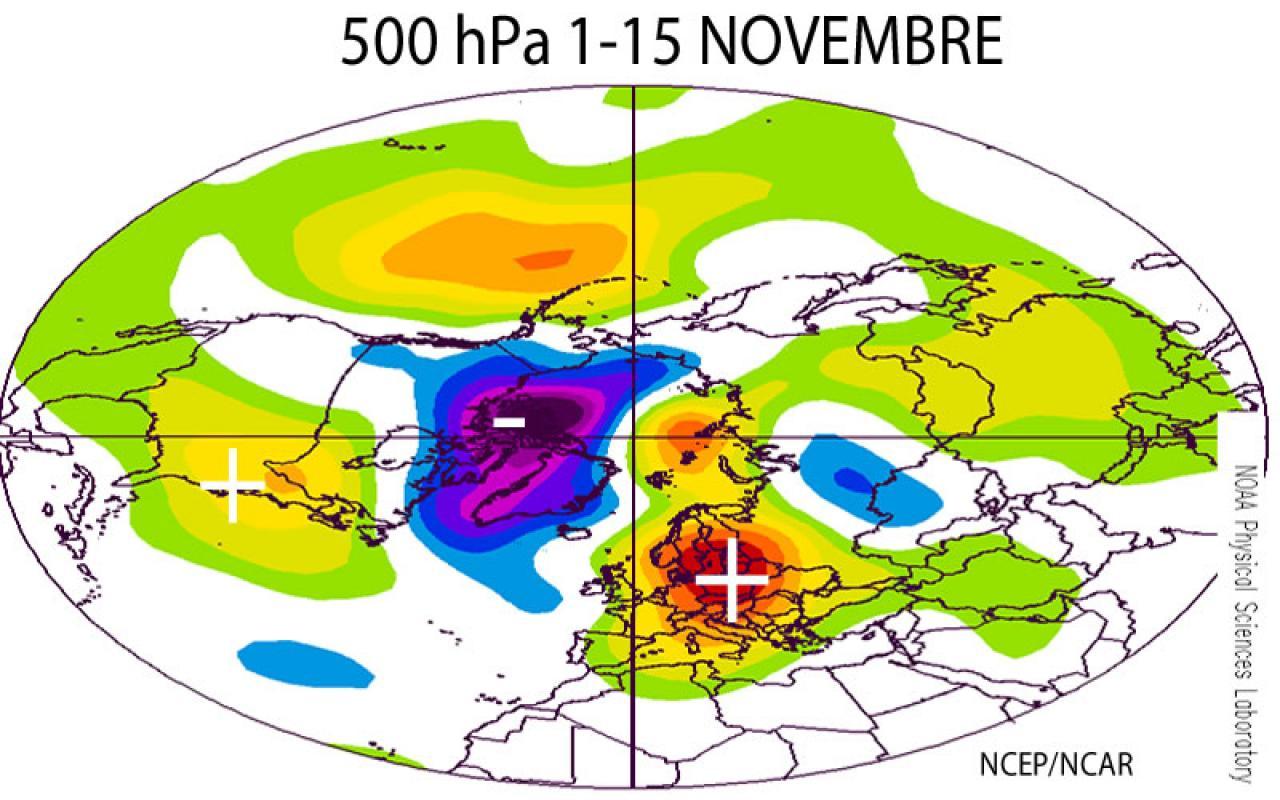 anomalie geopotenziale 500 hPa in novembre