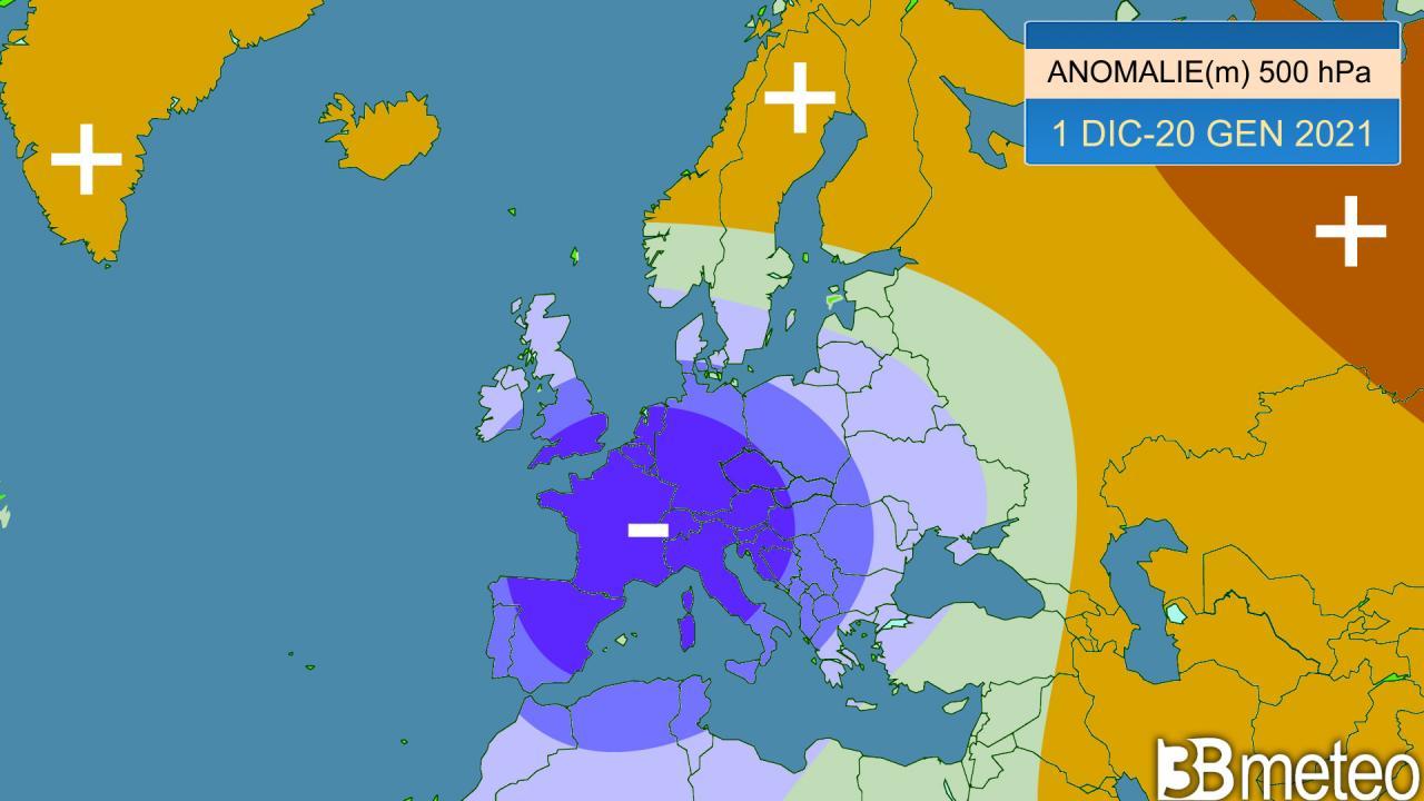 anomalie geopotenziale a 500 hPa prima parte inverno