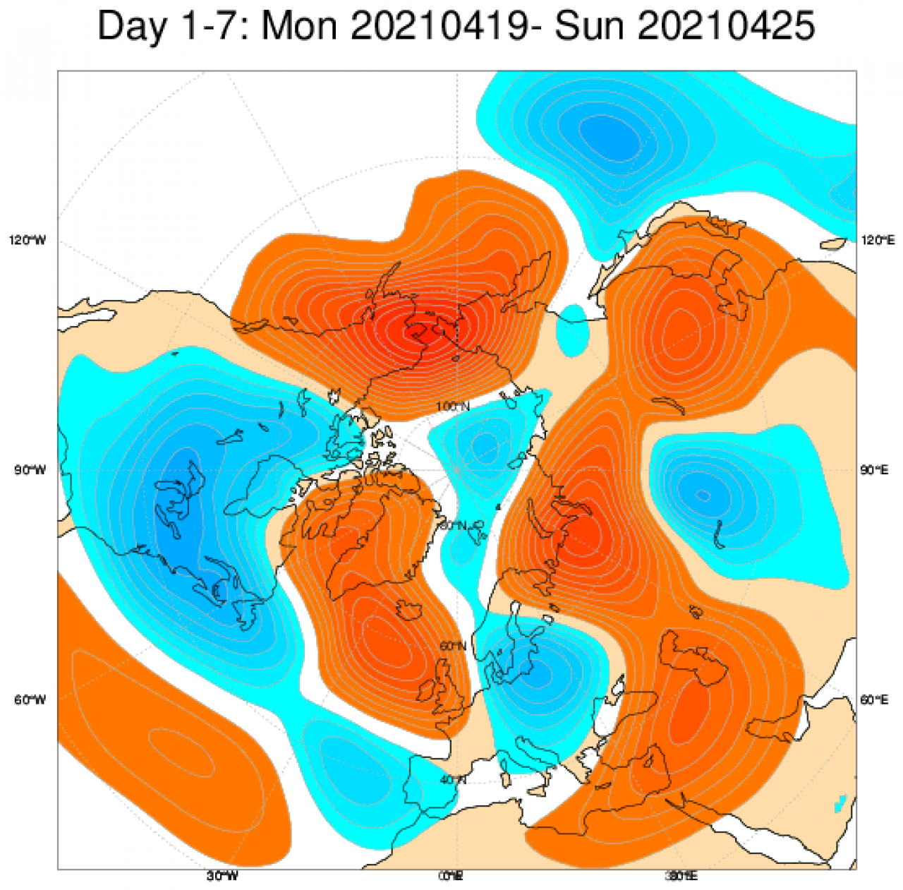 anomalie geopotenziali a 500 hPa secondo Ecmwf