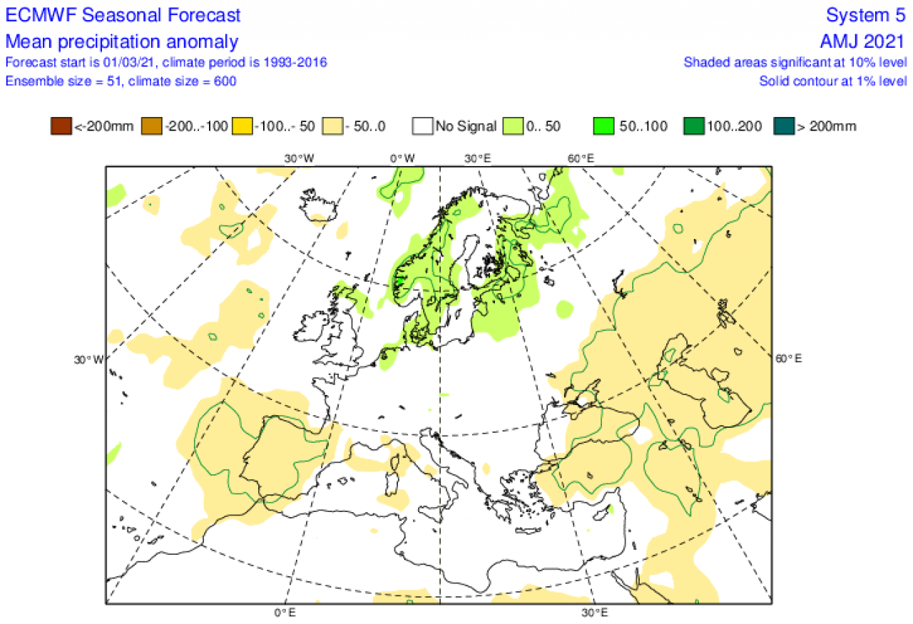 anomalie precipitazioni attese nel periodo aprile-giugno secondo ecmwf