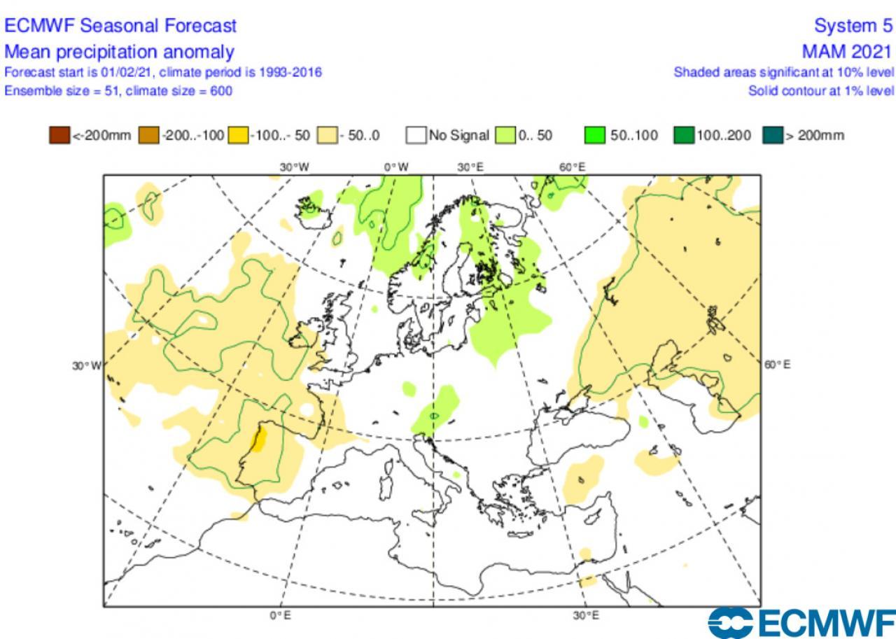 anomalie precipitazioni marzo-maggio secondo ecmwf