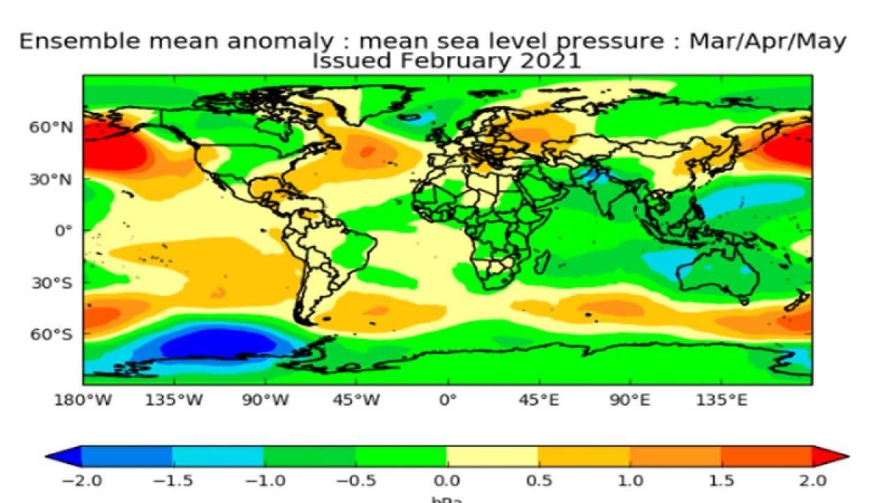 anomalie pressioni marzo-maggio secondo il Met Office