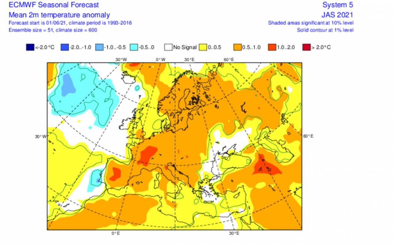 anomalie T 2m luglio-settembre secondo Ecmwf