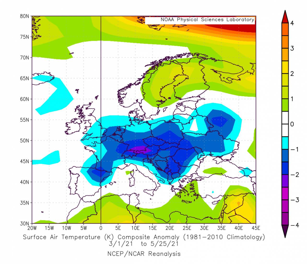 anomalie temperatura a 2m fonte Noaa