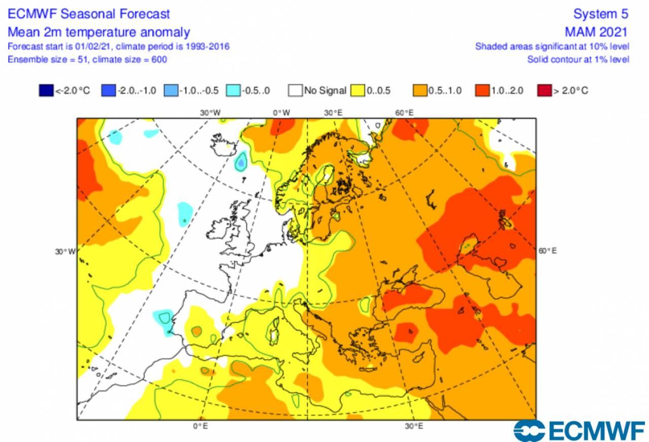 anomalie temperatura a 2m marzo-maggio secondo ecmwf