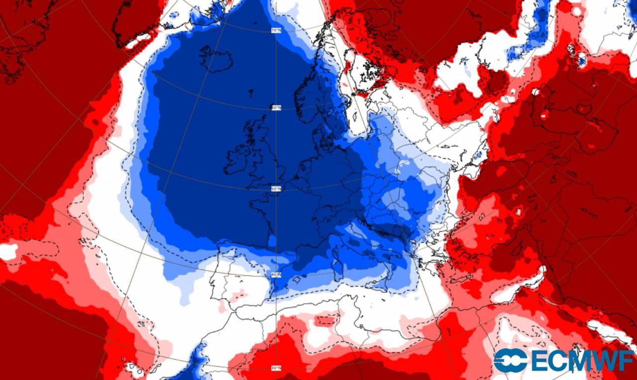 anomalie temperature a 2m secondo ecmwf