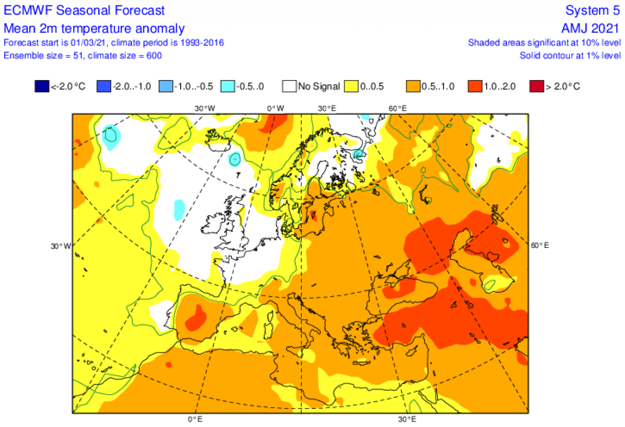 anomalie temperature attese nel periodo aprile-giugno secondo ecmwf