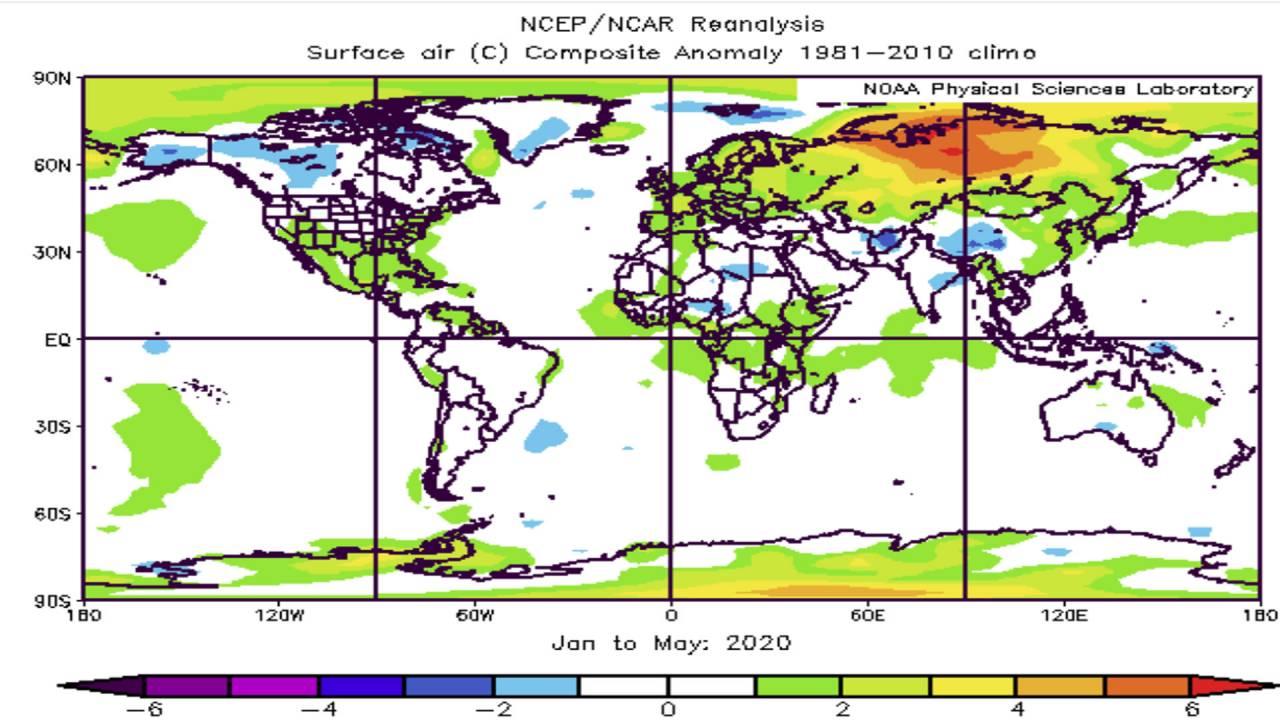 anomalie temperature globo, primi mesi del 2020