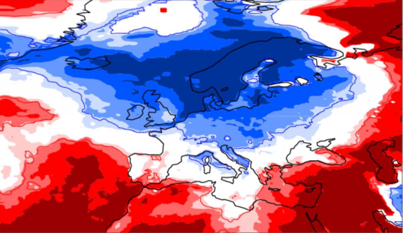 anomalie temperature nel periodo 3-9 maggio secondo Ecmwf