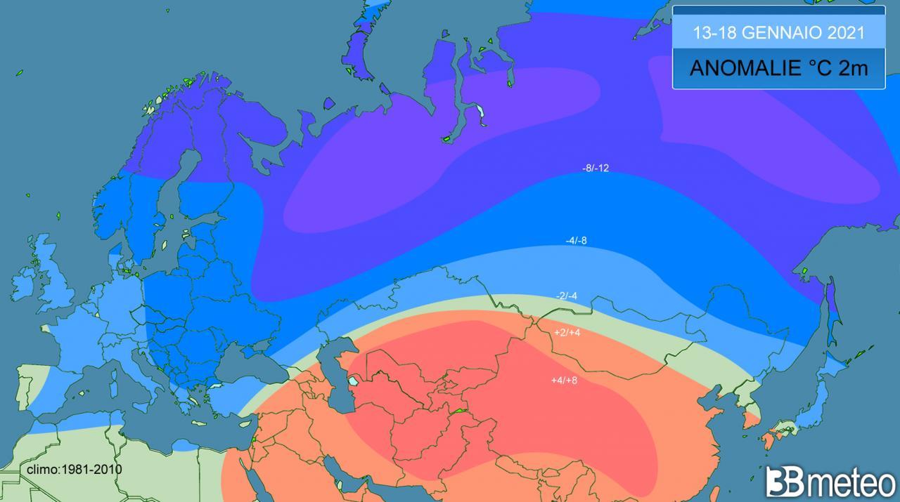 anomalie temperature ultimi giorni in Asia ed Europa