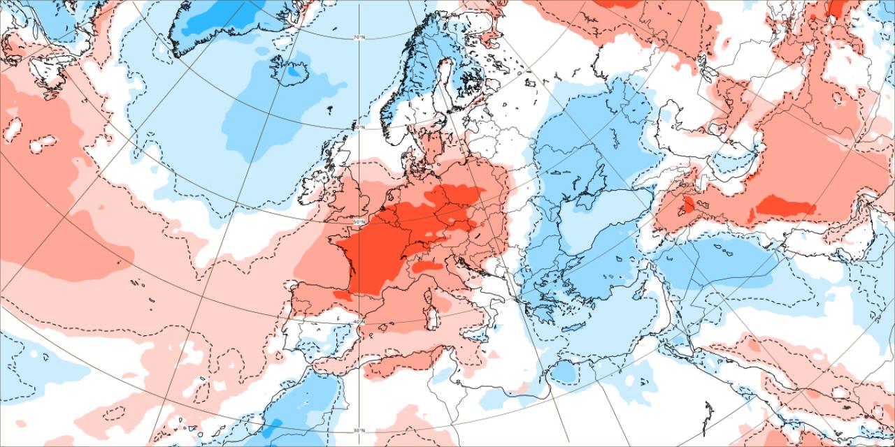 Anomalie termiche al suolo attese tra il 14 e il 21 giugno in Europa. Dal modello ECMWF
