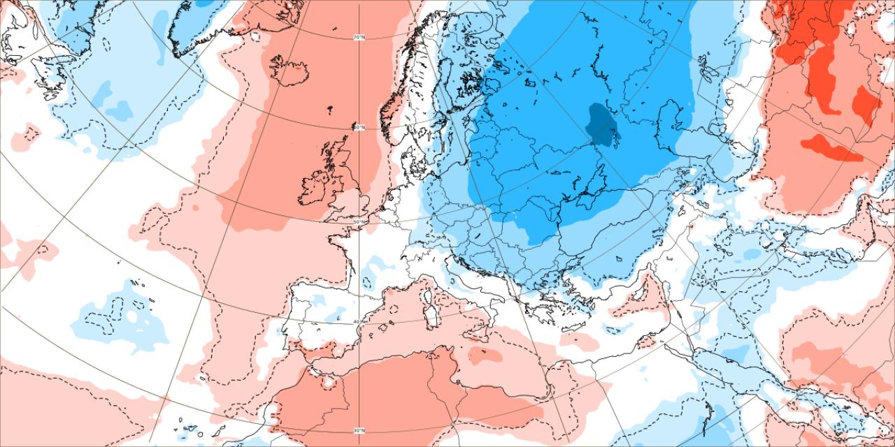Anomalie termiche attese tra il 20 e il 27 settembre. Dal modello ECMWF